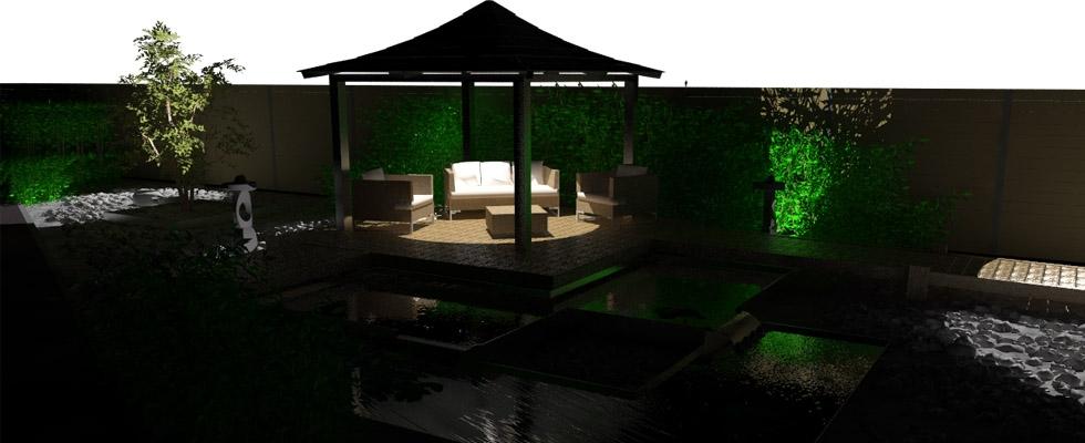 Jardin japonais vue de nuit