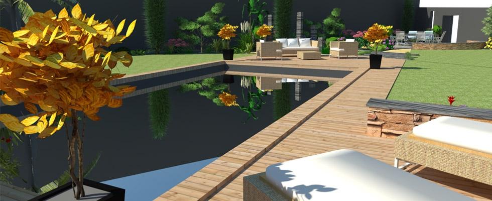 Perspective piscine et terrasse bois