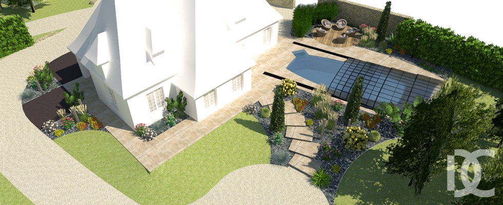Perspective piscine et terrasse minérale